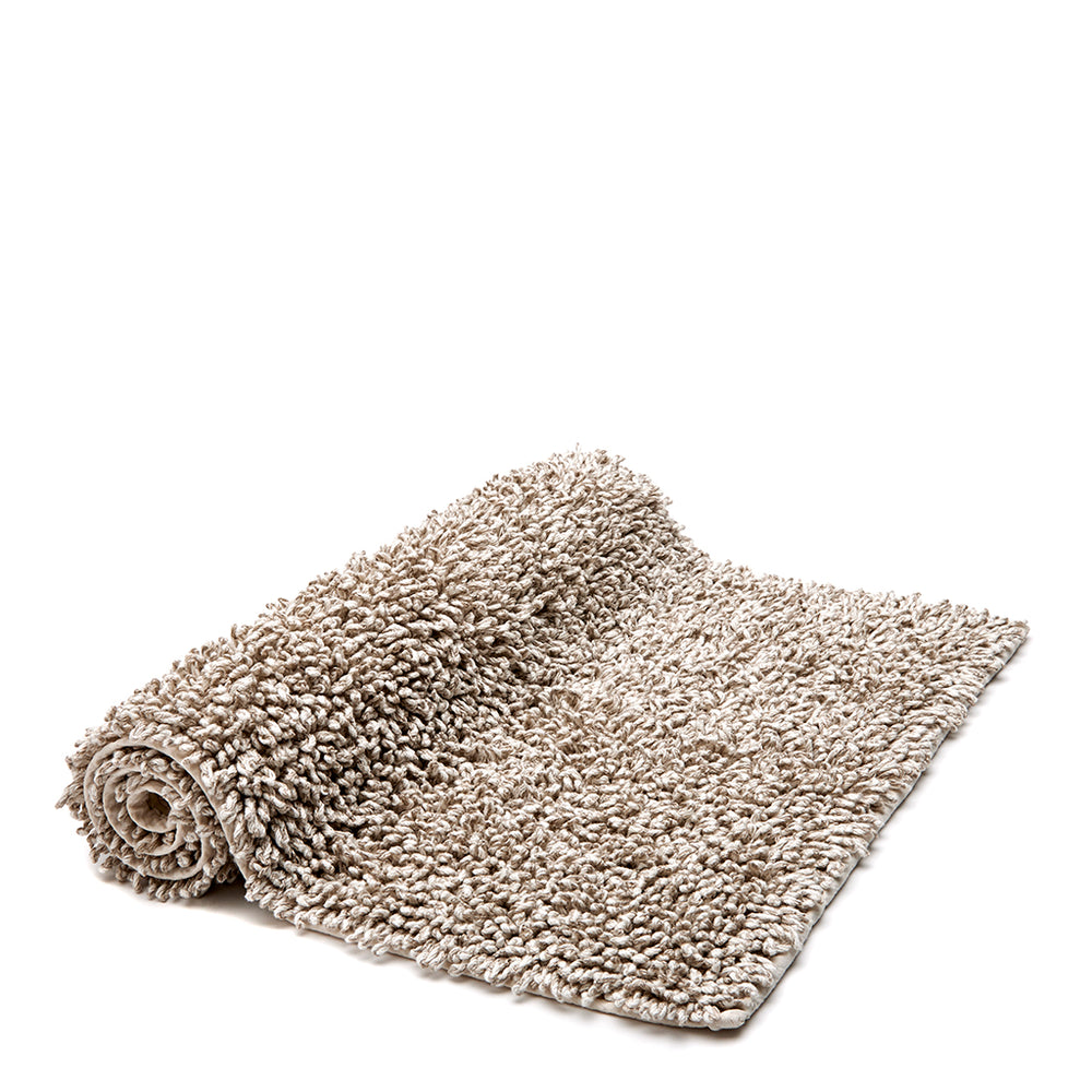"Waterworks Fray Looped Natural Linen/Cotton Bath Rug 23""x 39"""