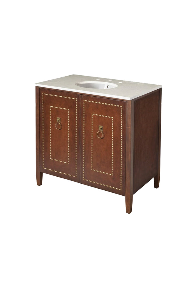 Waterworks Gryphon Single Vanity in Saddle Leather with Walnut Frame