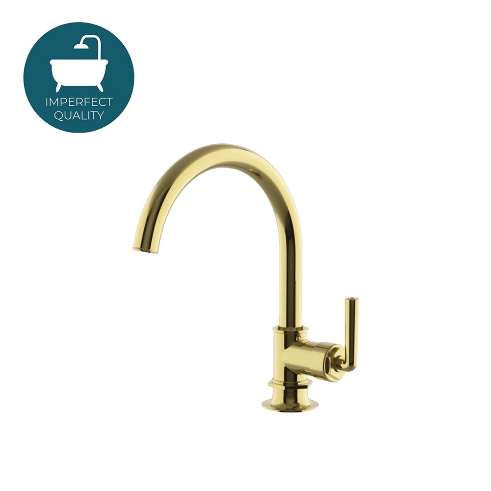Waterworks Henry Gooseneck Kitchen Faucet without Handspray in Unlacquered Brass