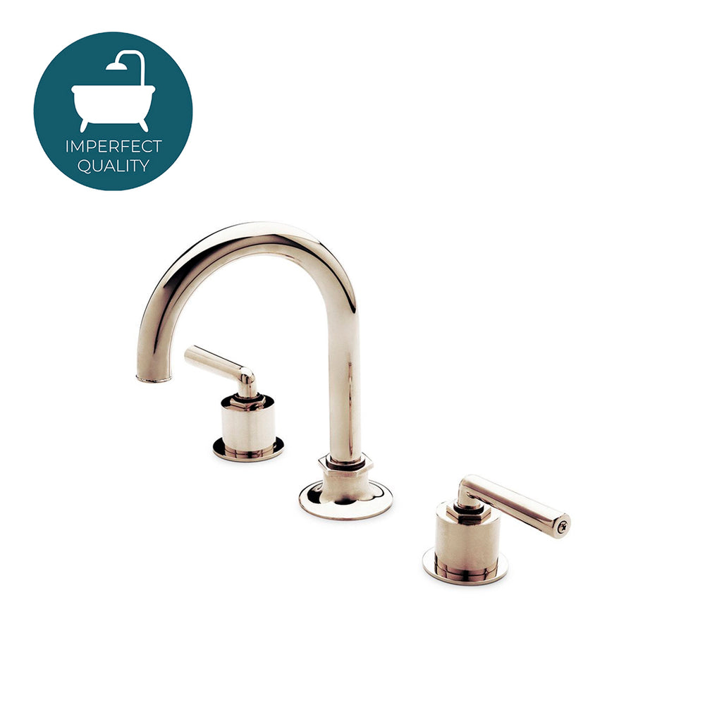 Waterworks Gooseneck Three Hole Deck Mounted Lavatory Faucet with Metal Lever Handles in Nickel