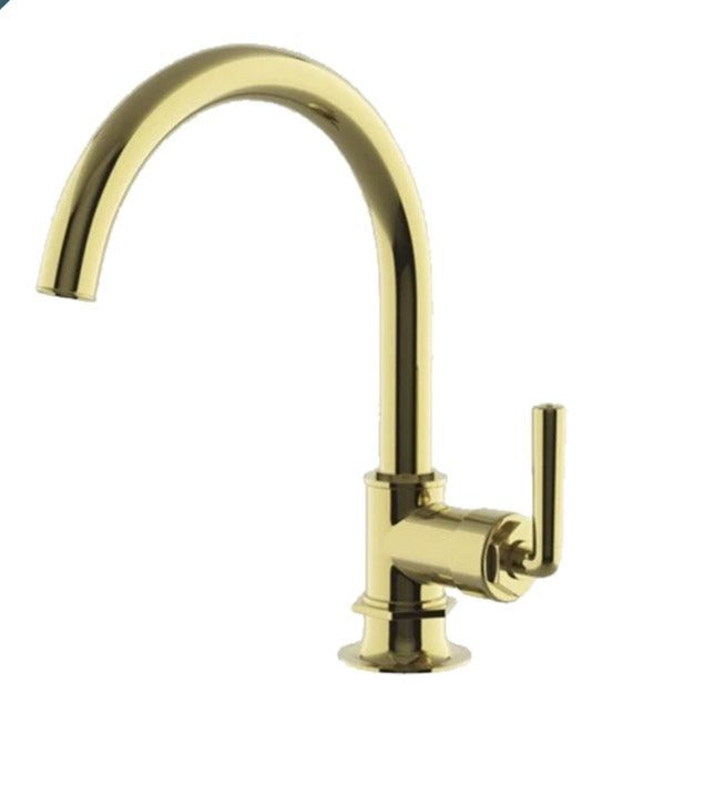 Waterworks Henry Gooseneck Kitchen Faucet in Unlacquered Brass