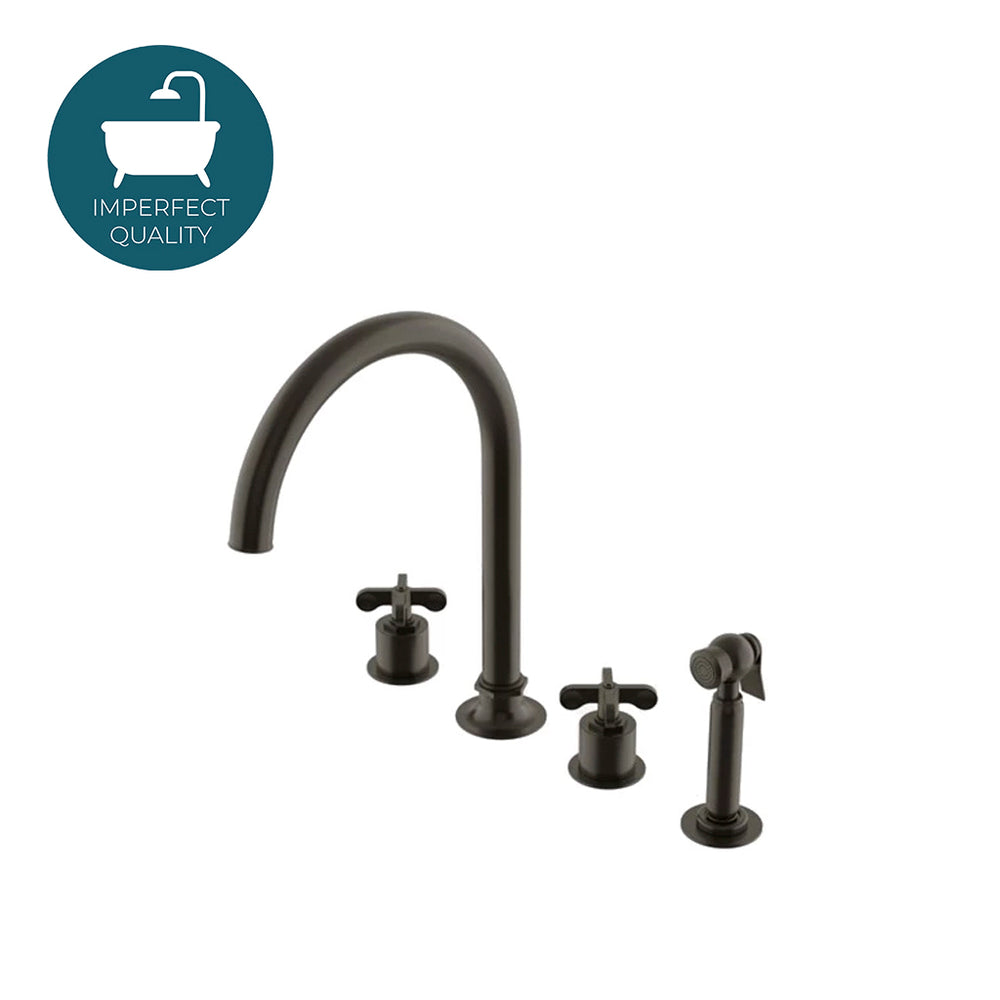 Waterworks Henry Three Hole Gooseneck Kitchen Faucet and Spray in Architectural Bronze