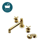 Waterworks Henry Tub Faucet with Handspray in Unlacquered Brass