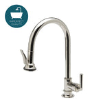 Waterworks Henry One Hole Gooseneck Kitchen Faucet with Pull Down Spray in Nickel