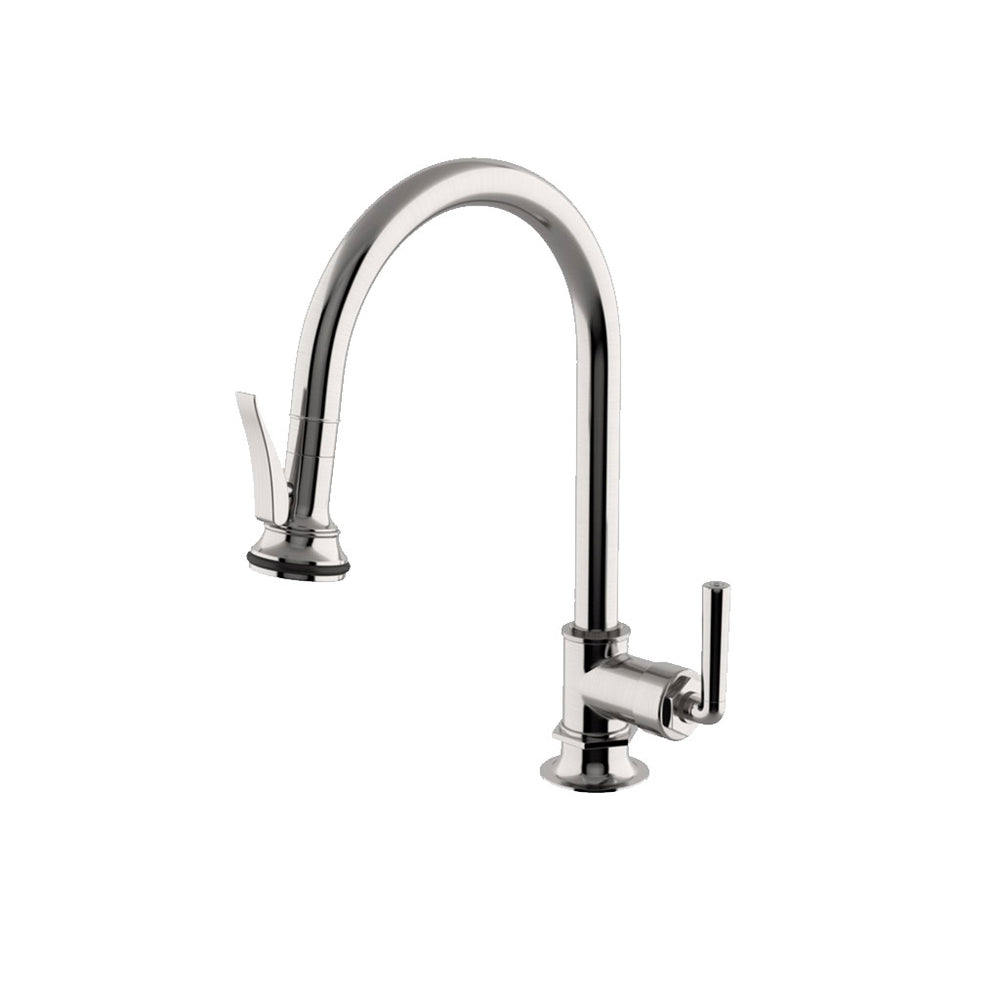 Waterworks Henry Gooseneck Kitchen Faucet with Pull-Down Spray in Burnished Nickel