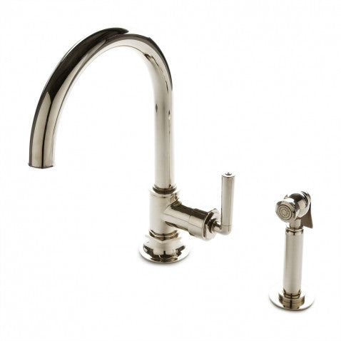 Waterworks Henry One Hole Gooseneck Kitchen Faucet, Metal Lever Handle and Spray in Nickel