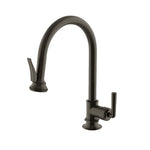 Waterworks Henry Gooseneck Kitchen Faucet with Pull-Down Spray and Metal Lever Handle in Architectural Bronze