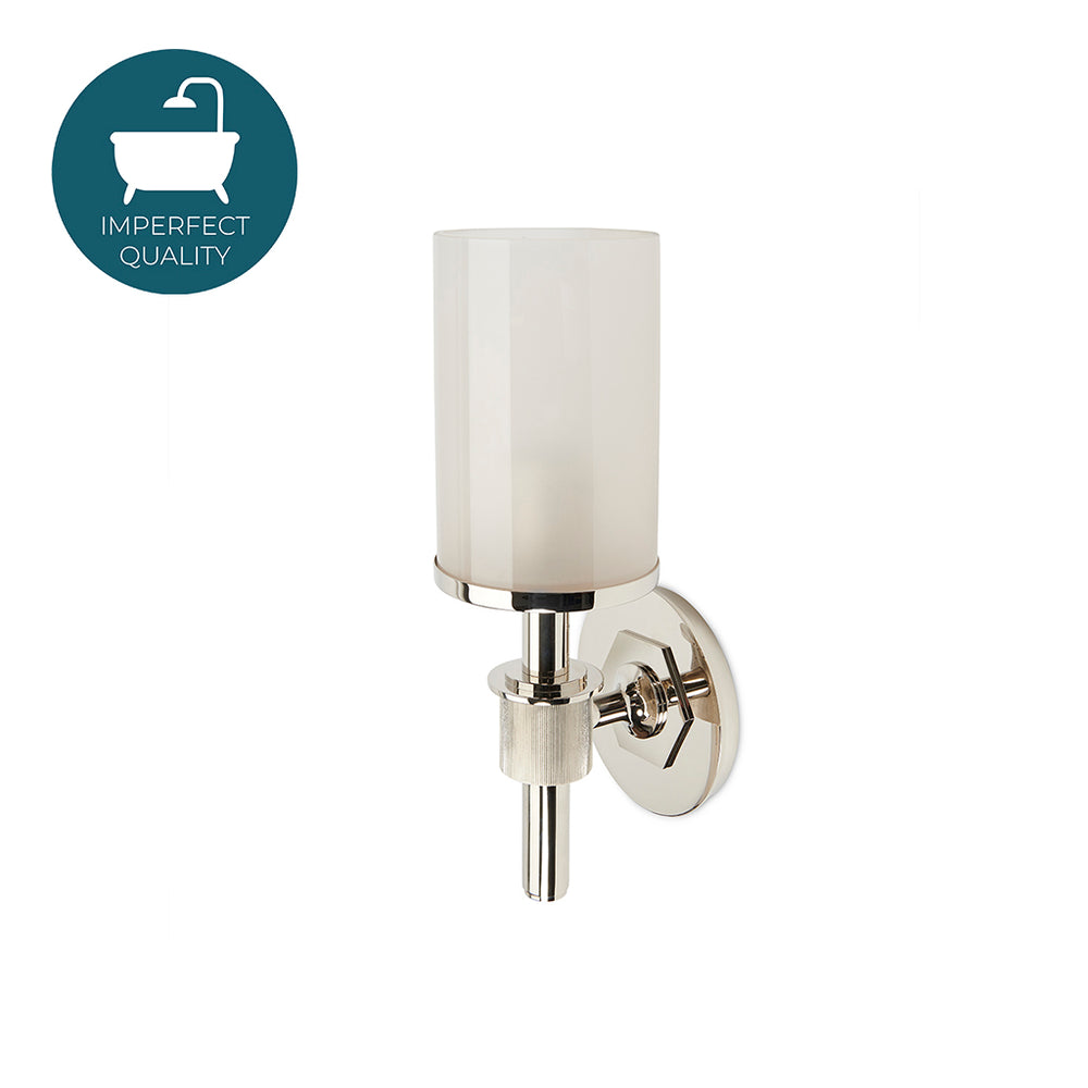 Waterworks Henry Wall Mounted Single Arm Sconce with Etched Shade in Nickel