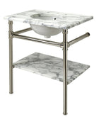 Waterworks Henry Metal Round Two Leg Single Washstand in Nickel