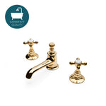 Highgate Low Profile Three Hole Deck Mounted Lavatory Faucet with Metal Cross Handles in Unlacquered Brass