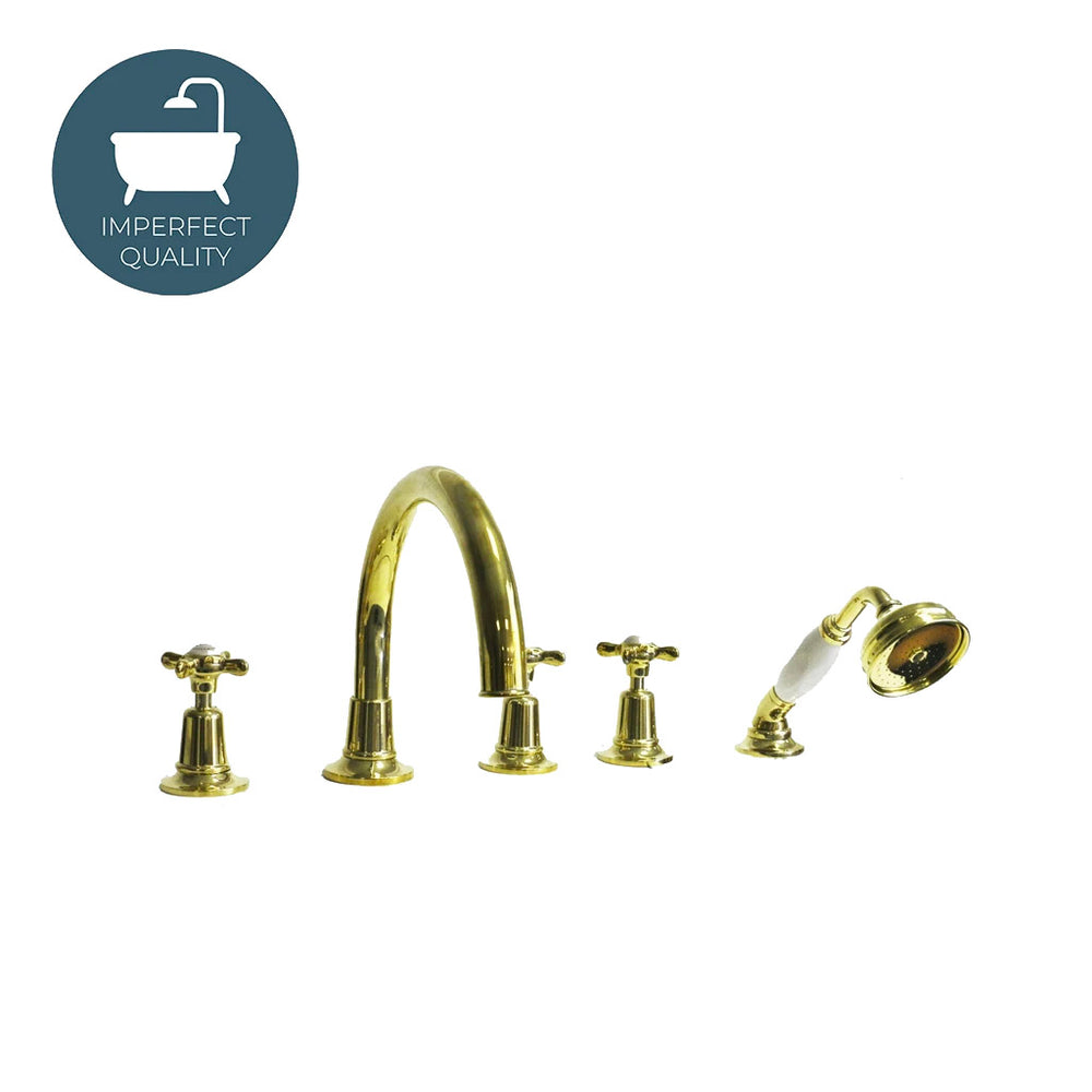 Waterworks Easton Classic Tub Faucet and Handshower in Unlacquered Brass