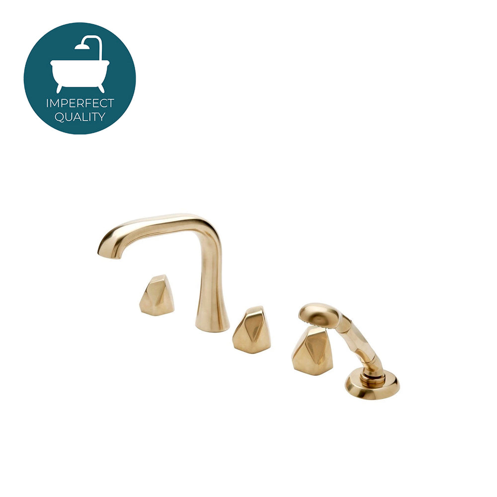 Waterworks Isla High Profile Concealed Tub Filler with Handshower in Burnished Brass