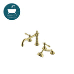 Waterworks Julia High Profile Concealed Tub Filler with Metal Handshower in Unlacquered Brass