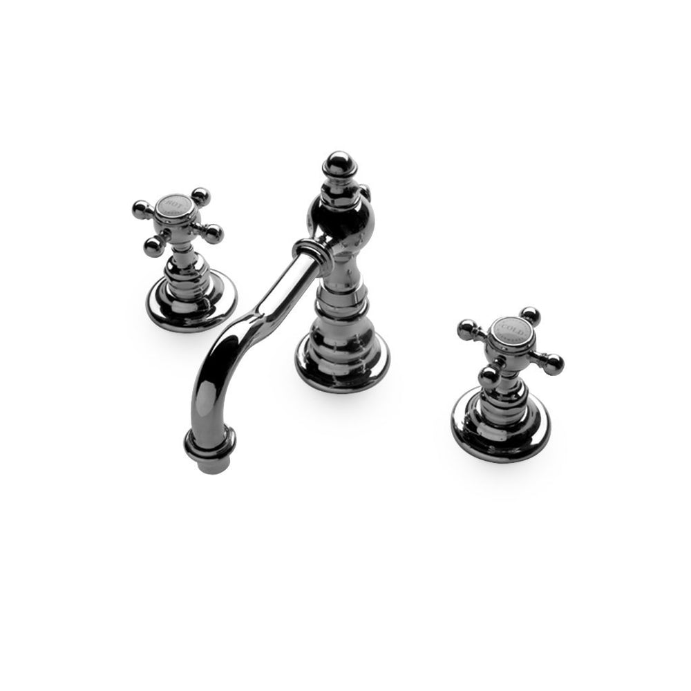Julia High Profile Three Hole Deck Mounted Lavatory Faucet with Metal Cross Handles in Architectural Bronze