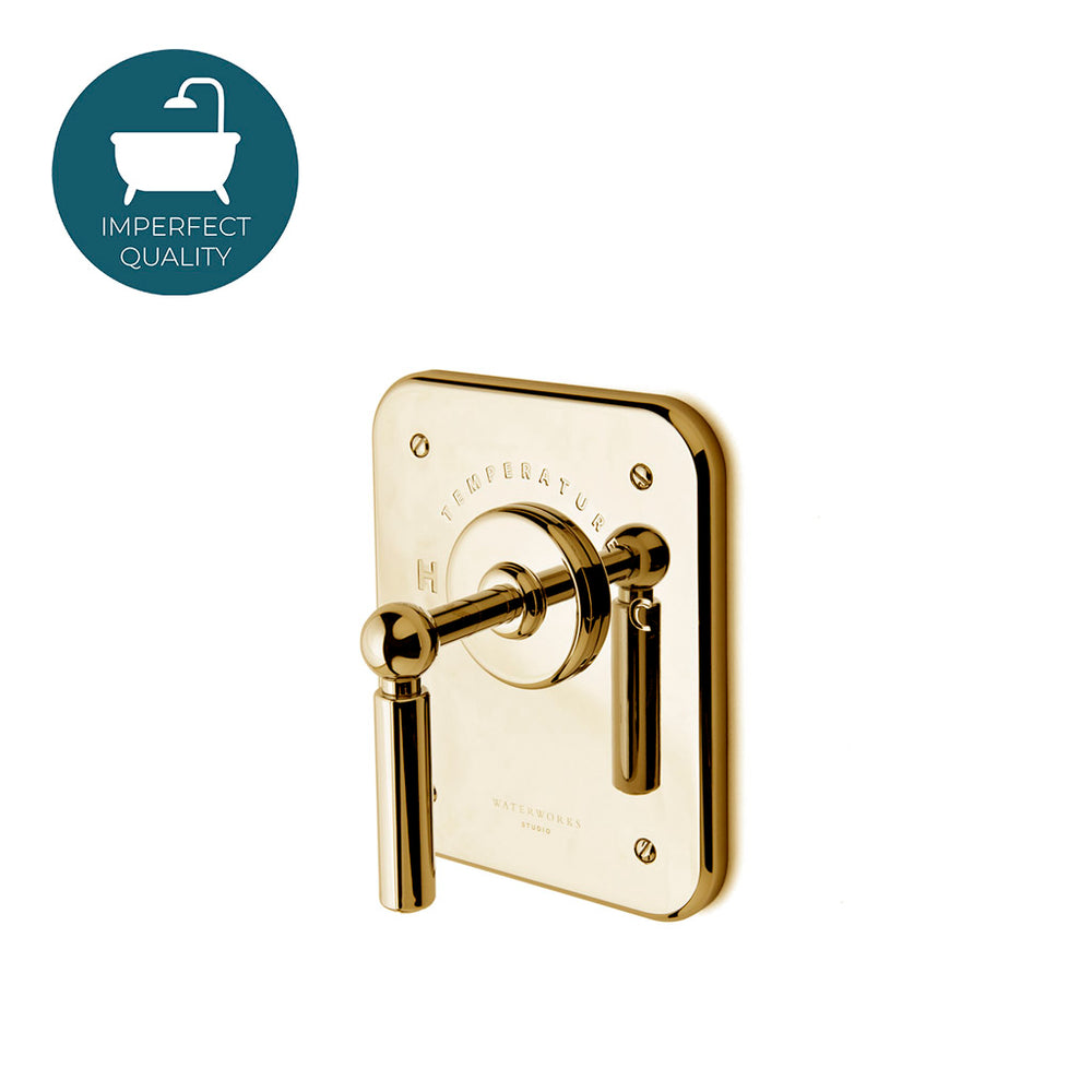 Waterworks Ludlow Thermostatic Control Valve Trim in Unlacquered Brass