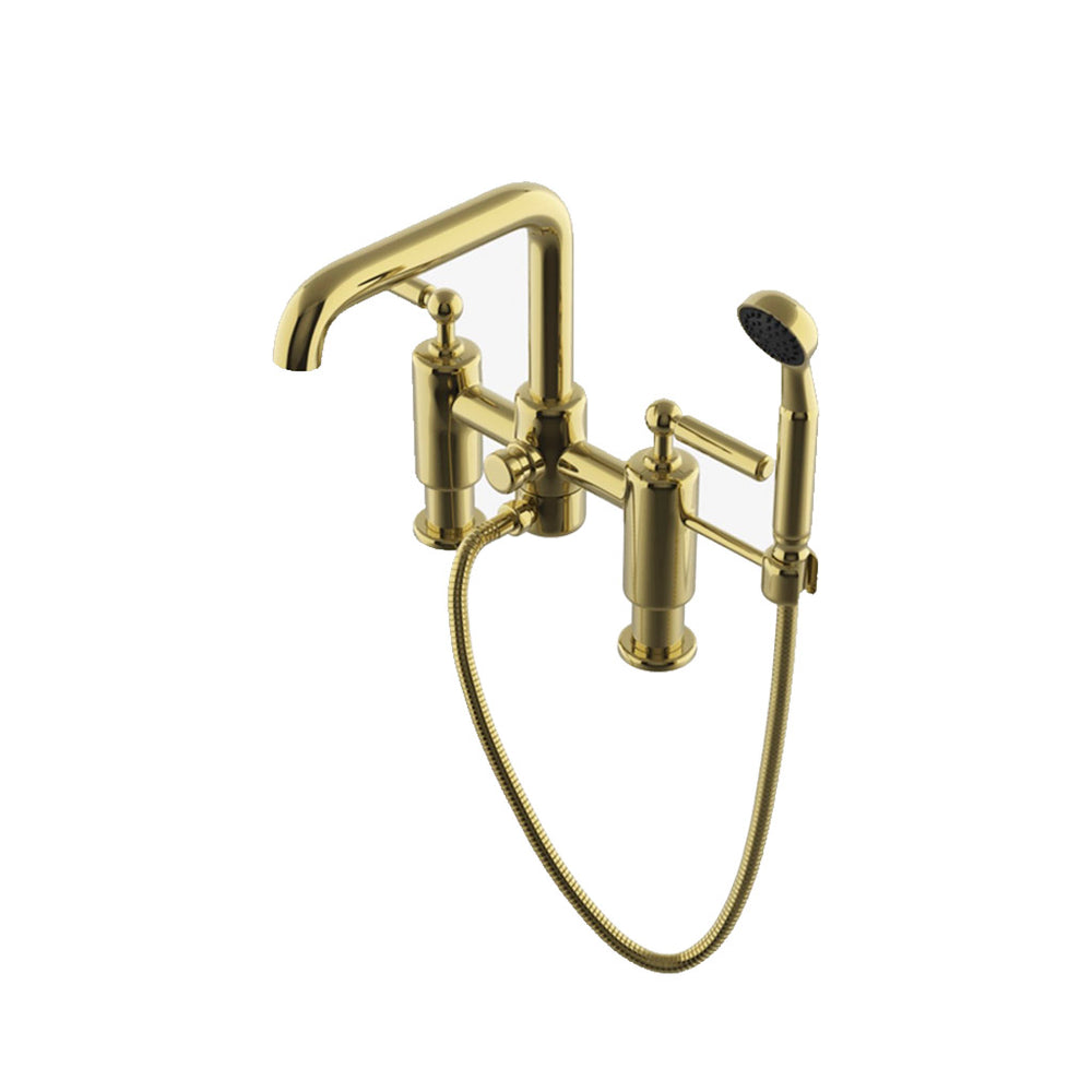 Waterworks Ludlow Deck Mounted Exposed Tub Filler with Handshower in Unlacquered Brass