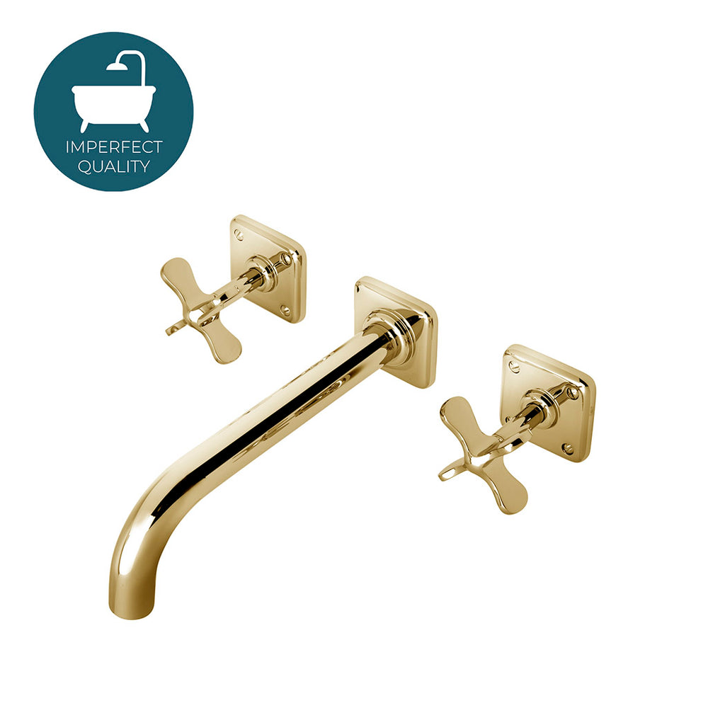 Waterworks Ludlow Low Profile Wall mounted Lavatory Faucet in Unlacquered Brass