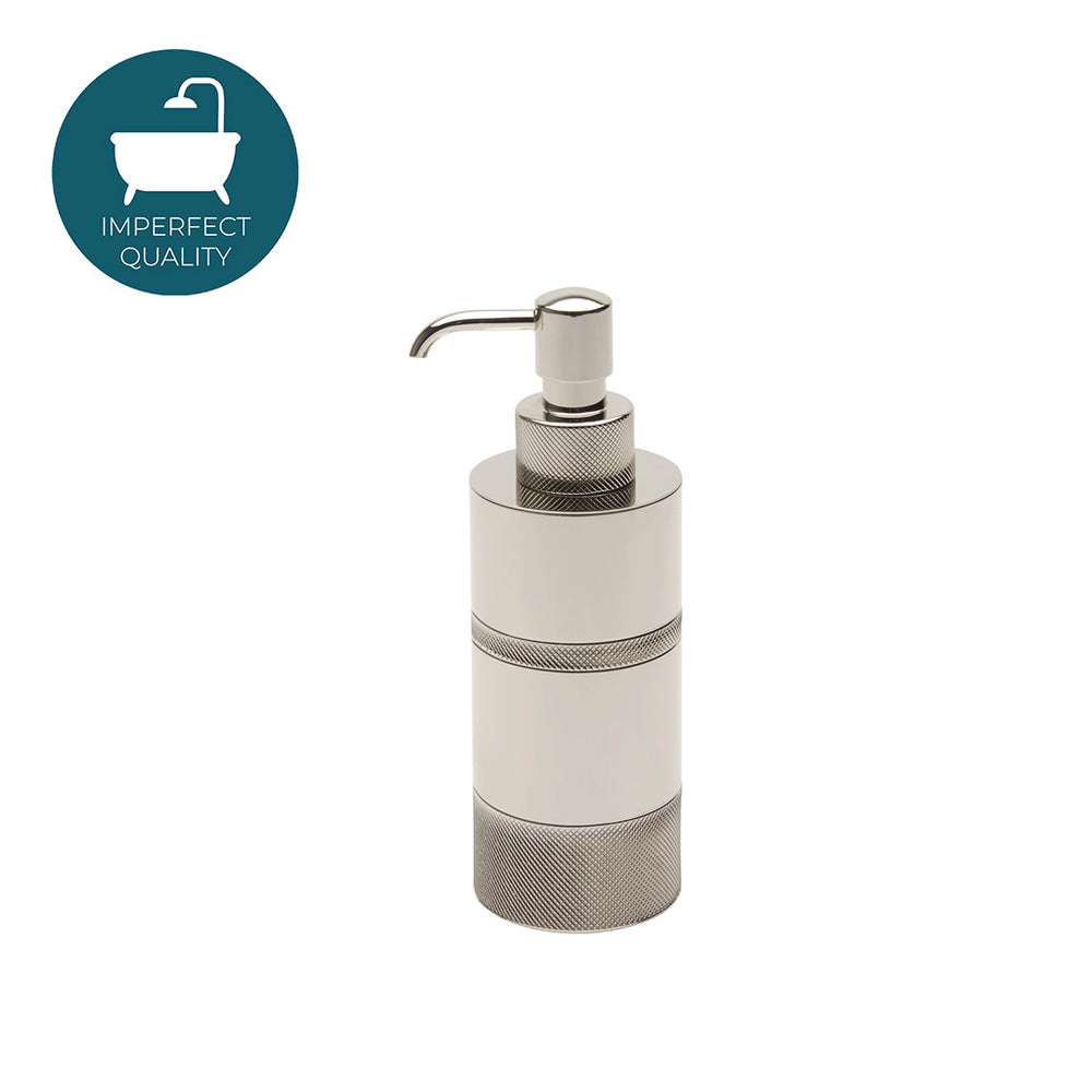 Waterworks Luster Knurled Soap Dispenser in Nickel