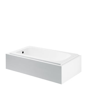 Waterworks Minna Rectangular Cast Iron Tub with End Drain in White