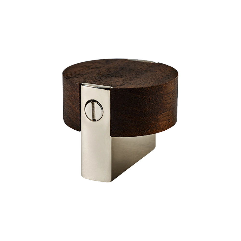 "Waterworks Muir 1 1/2"" Metal and Walnut Knob in Nickel"