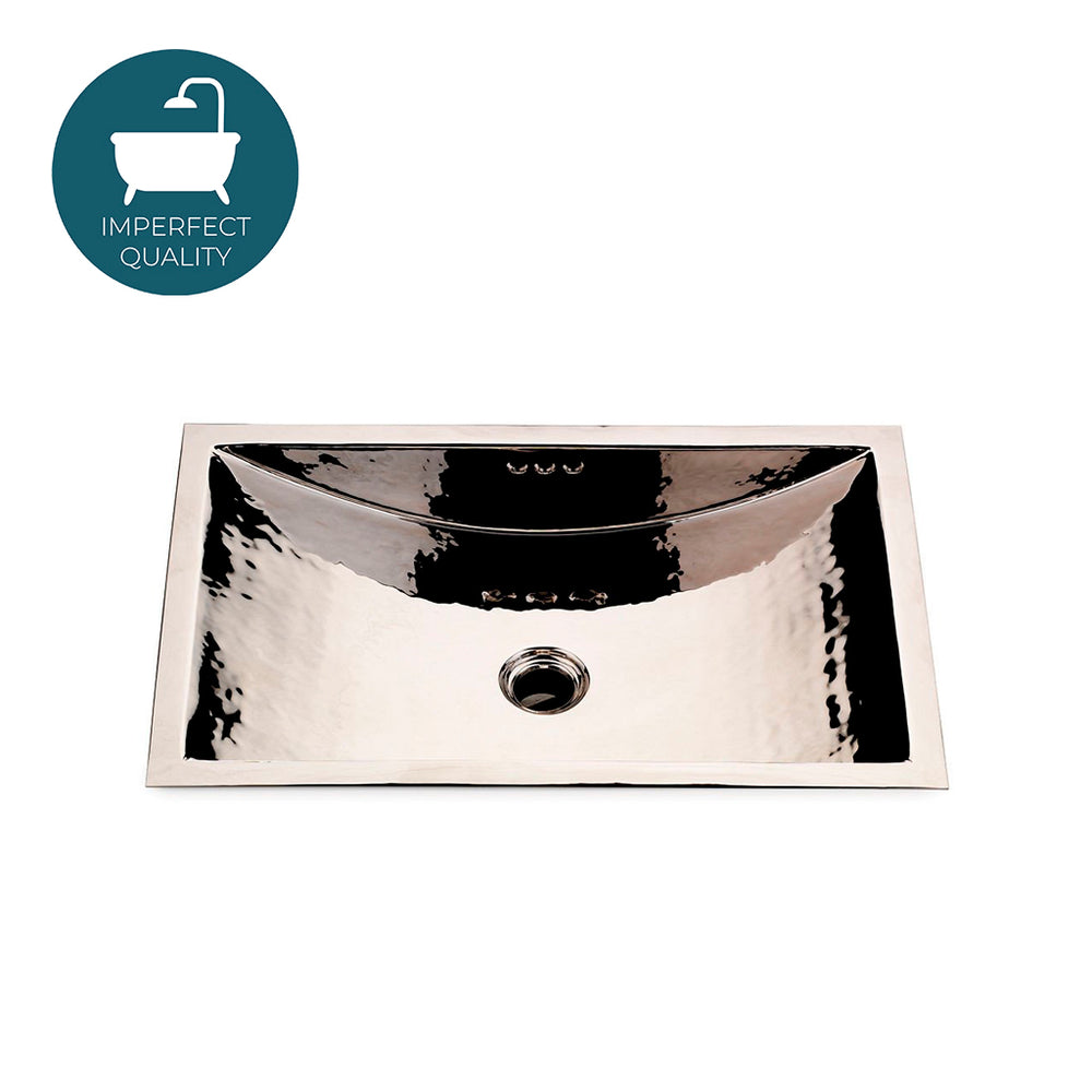 Waterworks Normandy Drop In or Undermount Rectangular Hammered Copper Lavatory Sink in Nickel