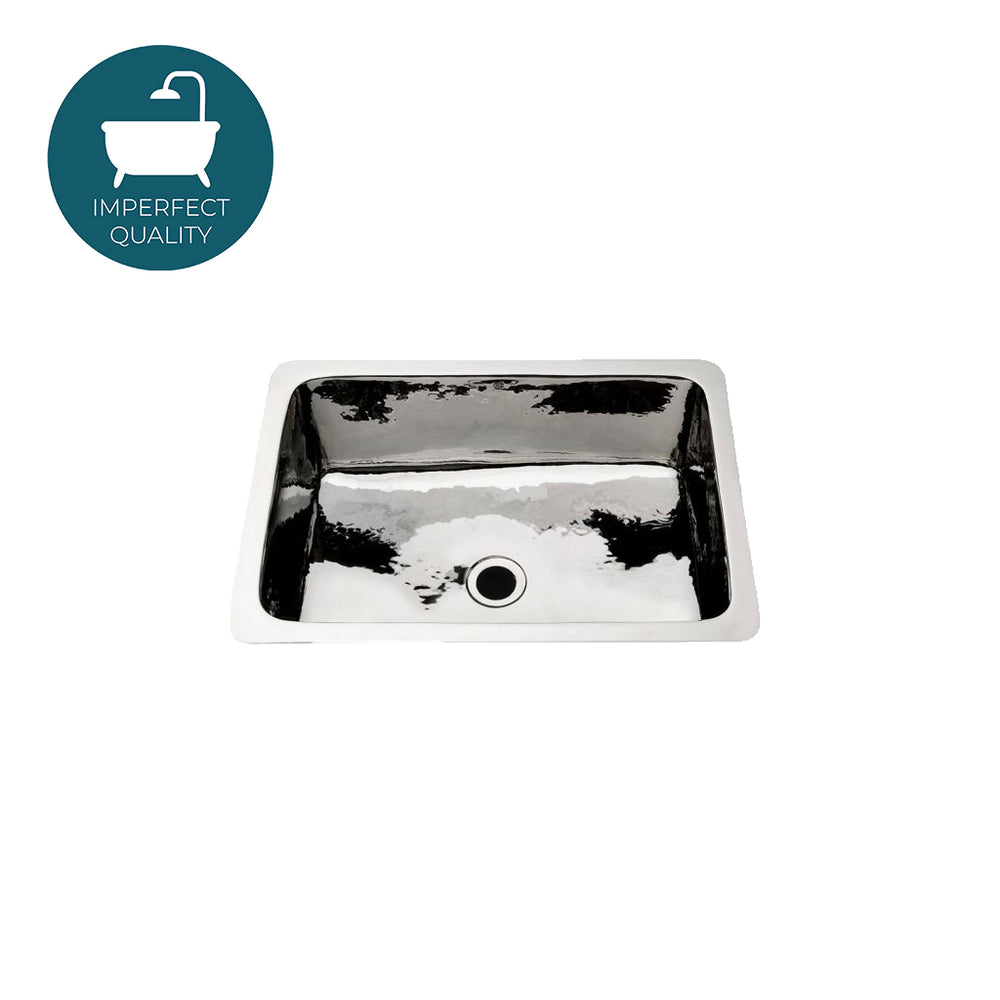 Waterworks Normandy Drop In or Undermount Rectangular Hammered Bar Sink in Matte Nickel