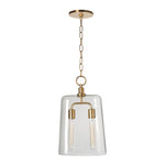 Waterworks Arundel Ceiling Mounted Large Glass Pendant in Shiny Copper with Clear Glass Shade