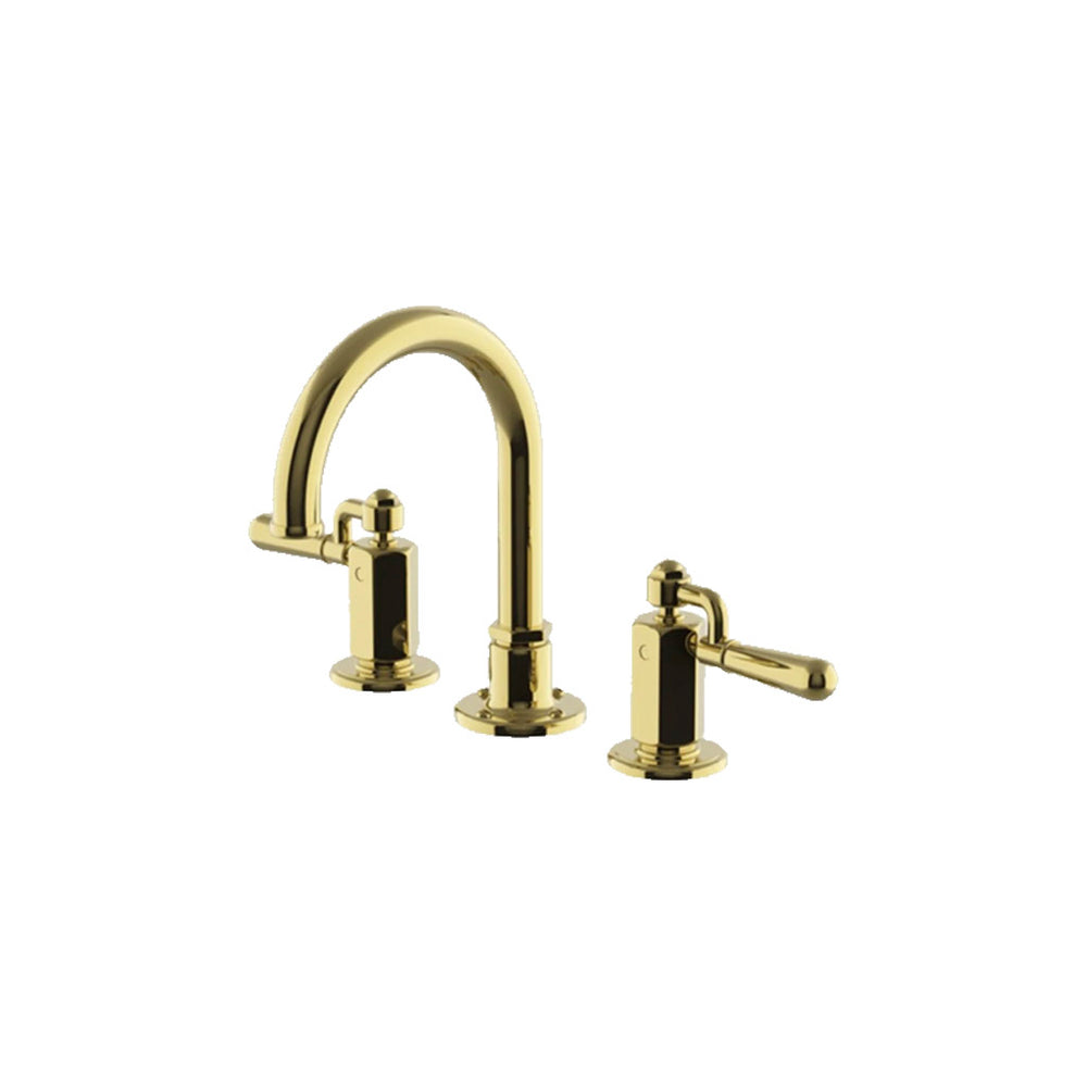 Waterworks Regulator Gooseneck Three Hole Deck Mounted Lavatory Faucet with Metal Drop Lever Handles in Unlacquered Brass