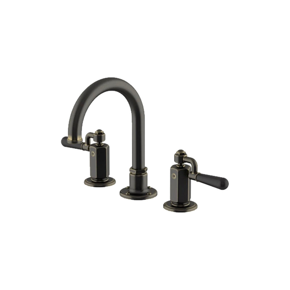 Waterworks Regulator Gooseneck Three Hole Deck Mounted Lavatory Faucet with Black Drop Lever Handles in Carbon