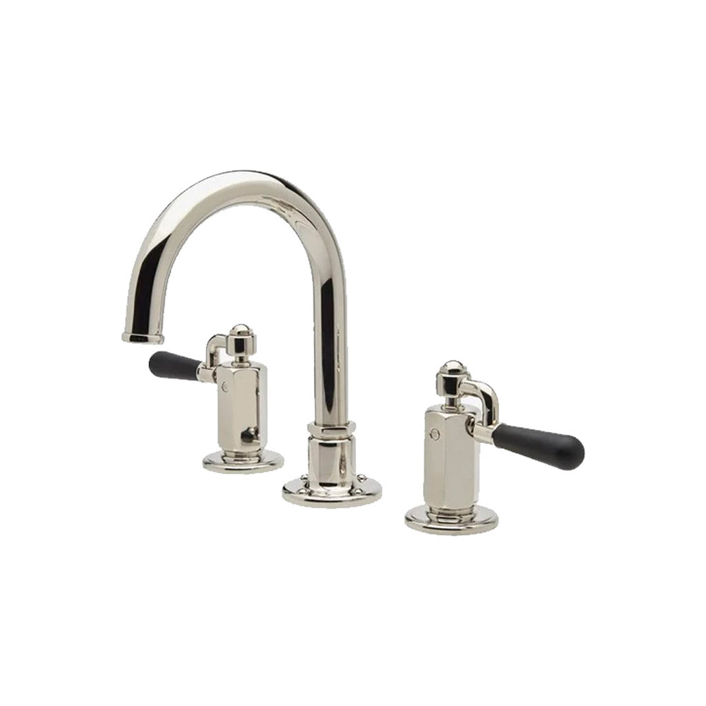 Waterworks Regulator Gooseneck Three Hole Deck Mounted Lavatory Faucet with Black Drop Lever Handles in Nickel