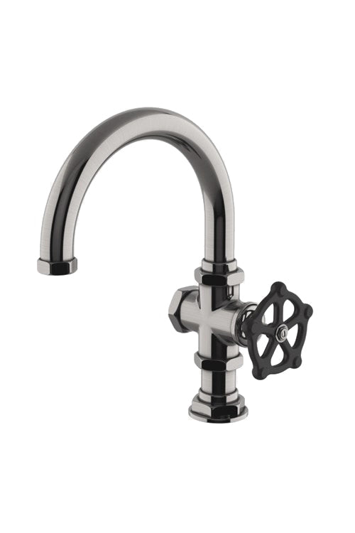 Waterworks Regulator One Hole Gooseneck Bar Faucet, Black Wheel Handle in Pewter