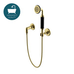 Waterworks Regulator Handshower on Hook in Unlacquered Brass