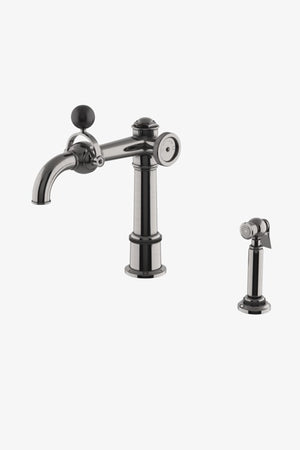 On Tap One Hole High Profile Luxury Kitchen Faucet with Metal Wheel, Black Ball Handle and Spray in Sovereign