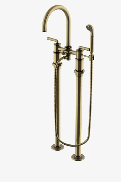 Henry Exposed Floor Mounted Tub Filler with Handshower and Metal Lever Handles in Unlacquered Brass