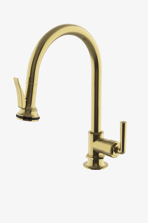 Waterworks Henry Gooseneck Kitchen Faucet with Pull-Down Spray and Metal Lever Handle and in Burnished Brass