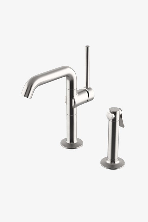 .25 One Hole High Profile Kitchen Faucet, Metal Handle and Metal Spray in Matte Nickel