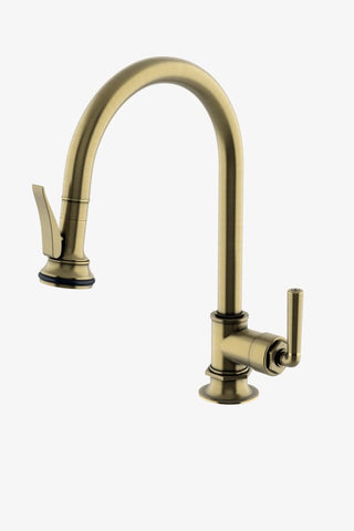 Henry Gooseneck Kitchen Faucet with Pull-Down Spray and Metal Lever Handle and in Antique Brass