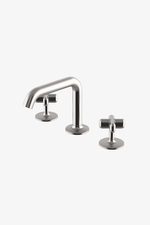 Waterworks .25 High Profile Three Hole Deck Mounted Lavatory Faucet with Metal Cross Handles in Burnished Brass
