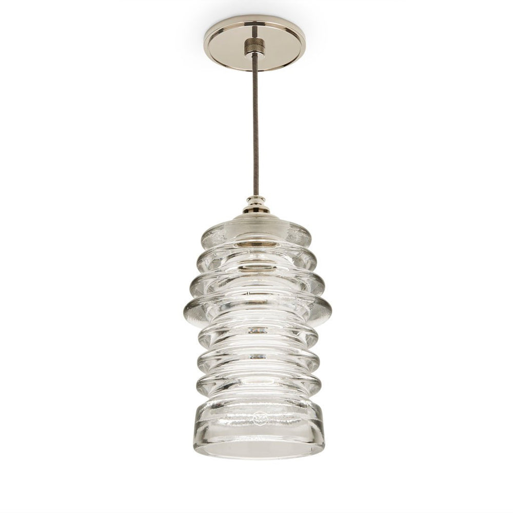 Watt Ceiling Plate for Pendant in Unlacquered Brass with Brown Cloth Cord Ribbed Clear Shade
