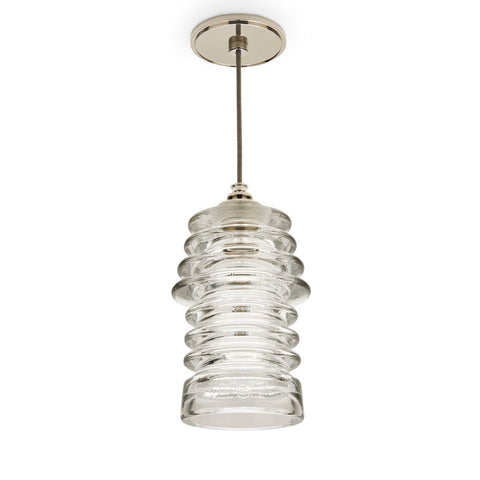 Waterworks Watt Ceiling Plate for Pendant in Unlacquered Brass with Brown Cloth Cord Ribbed Clear Shade