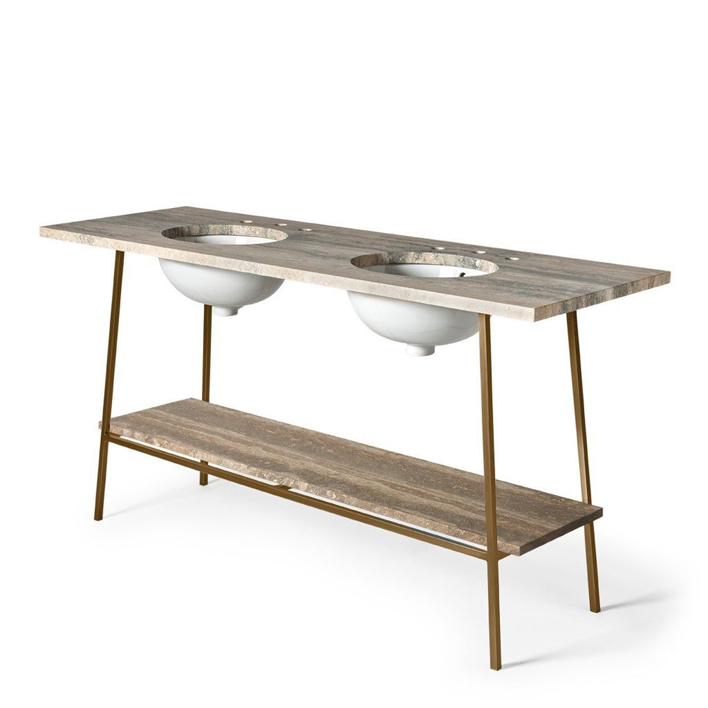 "Rowan Double Washstand 58"" x 20 3/4"" x 33 1/2"" in Matte Nickel"