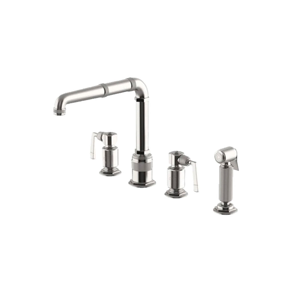 Waterworks RW Atlas Three Hole High Profile Kitchen Faucet with Metal Side Mount Lever Handles and Spray in Matte Nickel
