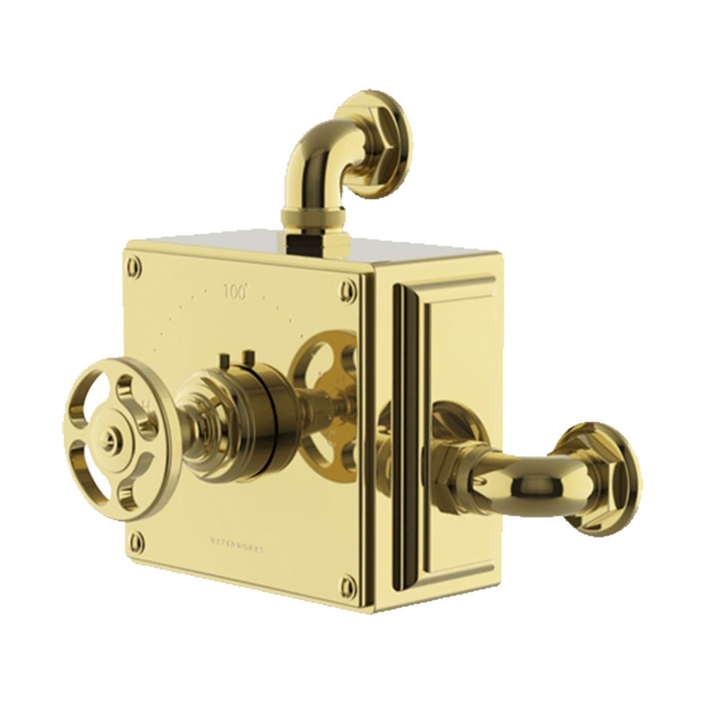 Waterworks R.W. Atlas Exposed Thermostatic Valve in Unlacquered Brass