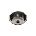 "Waterworks Normandy 13 3/4"" x 13 3/4"" x 6 5/16"" Hammered Copper Round Bar Sink with Center Drain in Unlacquered Brass"