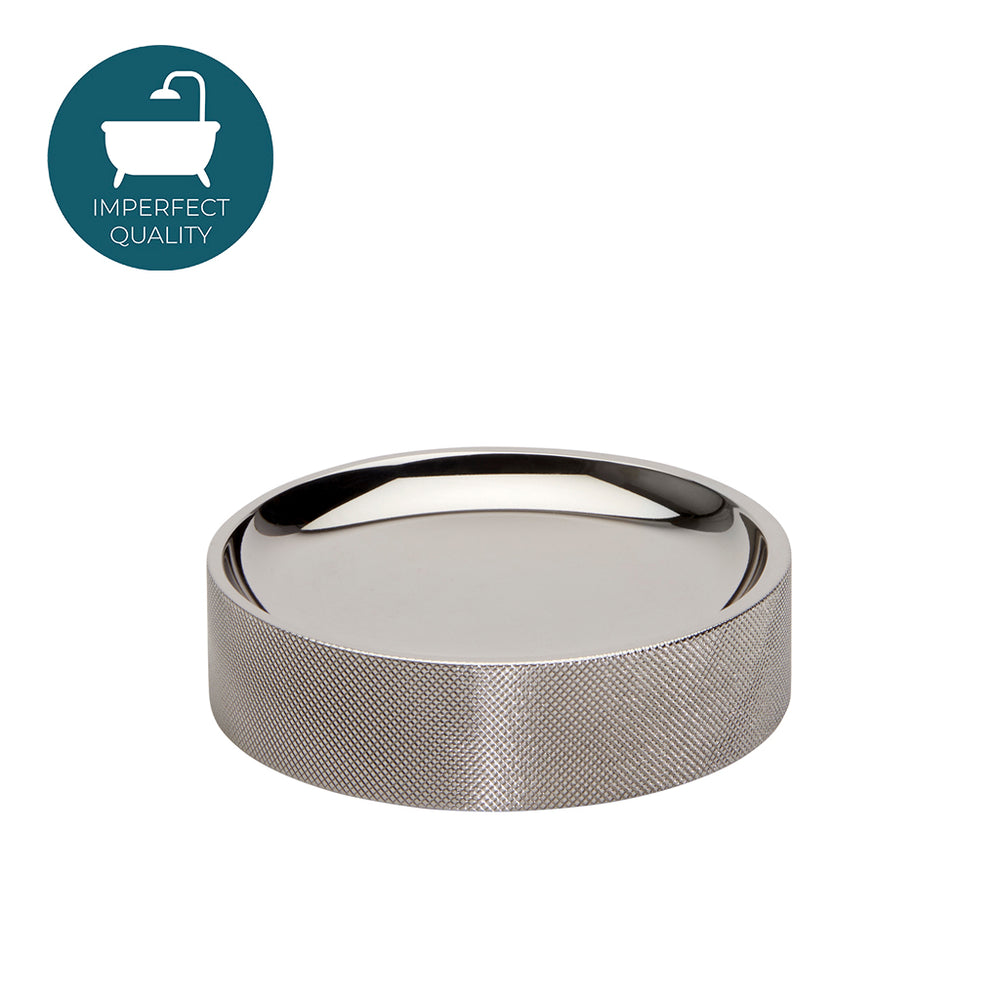 Waterworks Luster Round Knurled Soap Dish in Nickel