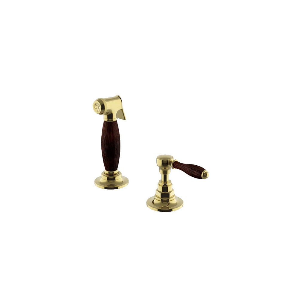 Waterworks Easton Vintage Spray, Oak Lever Handle in Unlacquered Brass