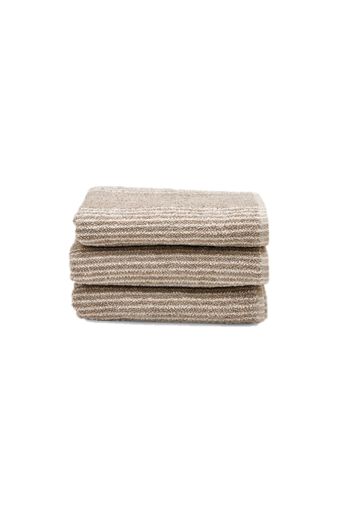 Waterworks Tasha Guest Towel in Linen with Cream Stripes