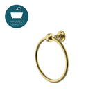 "Waterworks Crystal 7"" Brass Towel Ring in Unlacquered Brass"