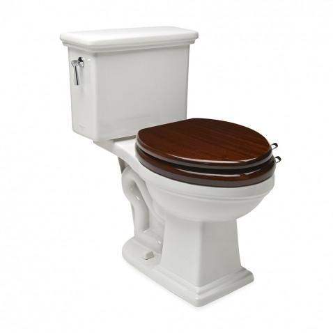 Universal Round Watercloset Seat High Gloss in Mahogany with Unlacquered Brass Loosely Assembled Hardware