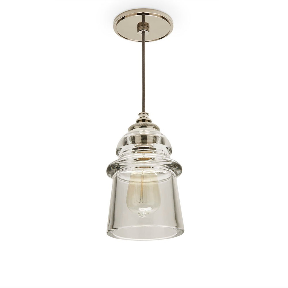 Watt Ceiling Plate for Pendant in Nickel with Silver Cloth Cord & Plain Glass Shade